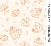 cute hand drawn pattern with... | Shutterstock .eps vector #1253955352