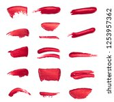 collection of smudged lipsticks ... | Shutterstock . vector #1253957362