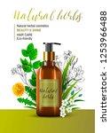 natural herbal cosmetic. 3d... | Shutterstock .eps vector #1253966488