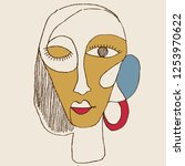portrait a woman with earring... | Shutterstock .eps vector #1253970622