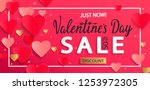 Stock vector valentines day sale background with gold hearts poster template pink abstract background with 1253972305