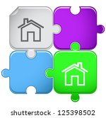 home. raster puzzle. | Shutterstock . vector #125398502