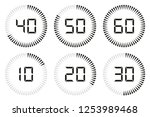 set of digital timer  clock and ... | Shutterstock .eps vector #1253989468
