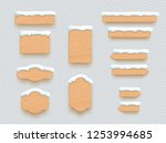 wooden sign winter snow 3d... | Shutterstock .eps vector #1253994685