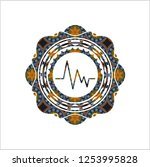electrocardiogram icon inside... | Shutterstock .eps vector #1253995828