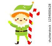 christmas elf. cute santa's...   Shutterstock . vector #1254000628