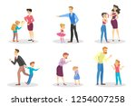 angry people screaming at young ... | Shutterstock .eps vector #1254007258