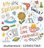set of cute doodles background | Shutterstock . vector #1254017365