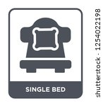 single bed icon vector on white ... | Shutterstock .eps vector #1254022198
