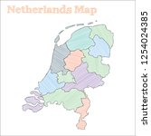 netherlands hand drawn map.... | Shutterstock .eps vector #1254024385