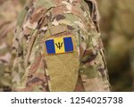 flag of barbados on soldiers... | Shutterstock . vector #1254025738
