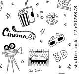 set of cute cinema theme... | Shutterstock . vector #1254029878