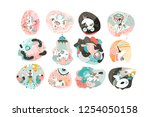 hand drawn vector abstract... | Shutterstock .eps vector #1254050158