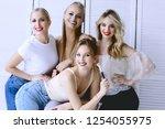 group of models make up   four...   Shutterstock . vector #1254055975