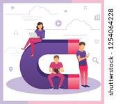 attracting online customers.... | Shutterstock .eps vector #1254064228