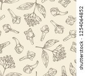 seamless pattern with clove... | Shutterstock .eps vector #1254064852