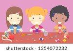 illustration of kids girls... | Shutterstock .eps vector #1254072232