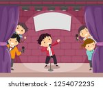 illustration of stickman kids... | Shutterstock .eps vector #1254072235