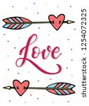 love lettering quote on a white ... | Shutterstock .eps vector #1254072325