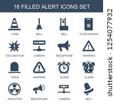 16 alert icons. trendy alert... | Shutterstock .eps vector #1254077932