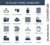 16 towel icons. trendy towel...   Shutterstock .eps vector #1254089188
