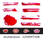 red lipstick smears set.... | Shutterstock .eps vector #1254097108
