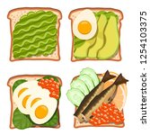 set of toasts with various... | Shutterstock .eps vector #1254103375