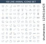 100 animal icons. trendy animal ... | Shutterstock .eps vector #1254116425
