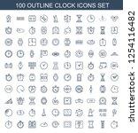 100 clock icons. trendy clock... | Shutterstock .eps vector #1254116482