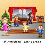 happy family celebration a...   Shutterstock . vector #1254117565