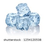 heap of blue ice cubes isolated ... | Shutterstock . vector #1254120538