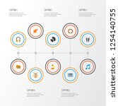 audio icons flat style set with ... | Shutterstock .eps vector #1254140755