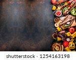 assortment various barbecue... | Shutterstock . vector #1254163198
