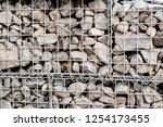 photograph of gabion baskets... | Shutterstock . vector #1254173455