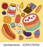 set of foods in doodle style | Shutterstock .eps vector #1254179242