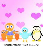 valentine card with  birds in... | Shutterstock . vector #125418272