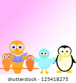 valentine card with  birds in... | Shutterstock . vector #125418275