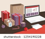 christmas gift boxes and... | Shutterstock .eps vector #1254190228