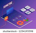 isometric vector. set of... | Shutterstock .eps vector #1254195598