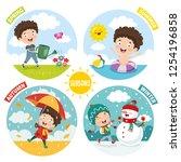 vector illustration of kid and... | Shutterstock .eps vector #1254196858