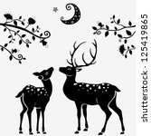 Stock vector silhouettes of black and white illustration of two deer 125419865