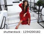 elegant sexy model in red... | Shutterstock . vector #1254200182