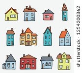 colorful cartoon home set  ... | Shutterstock .eps vector #1254200362