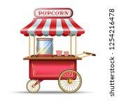 3d realistic vector popcorn red ... | Shutterstock .eps vector #1254216478