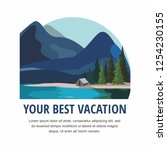 vacation and tourism. mountain... | Shutterstock .eps vector #1254230155