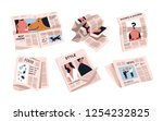 collection of newspapers... | Shutterstock .eps vector #1254232825
