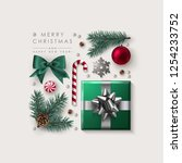 square christmas composition... | Shutterstock .eps vector #1254233752