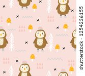 seamless pattern with cute owl... | Shutterstock .eps vector #1254236155