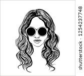 woman with sunglasses vector... | Shutterstock .eps vector #1254237748