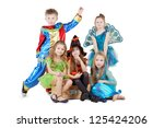 children in carnival costumes... | Shutterstock . vector #125424206